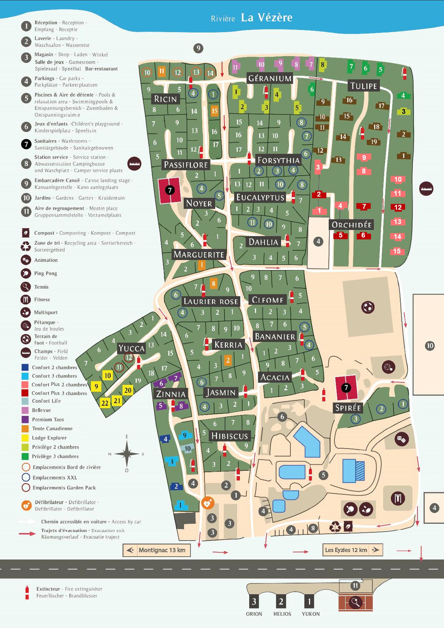 Plan van de camping